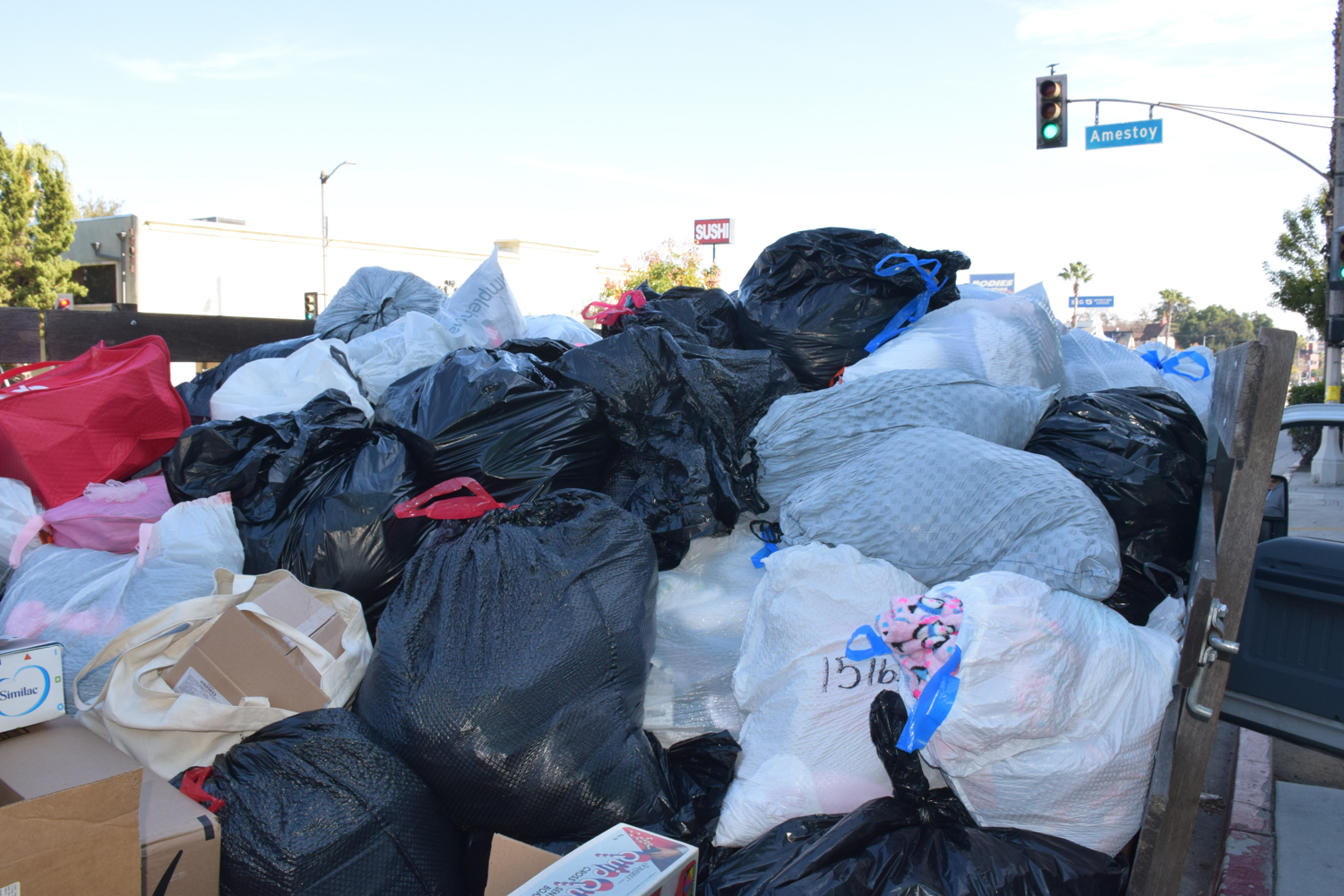 LES donations of clothing for MEND is estimated to be 90 bags.