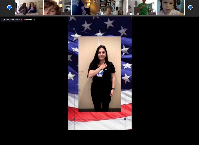Nurse Christina from Providence Cedars-Sinai Tarzana Medical Center, led us in the Pledge!